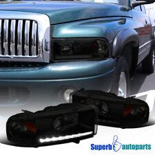 94-02 Dodge Ram 1500/2500/3500 LED DRL Strip Black Smoke Projector Headlights