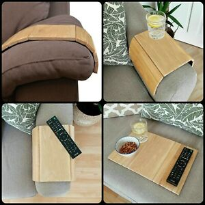 Flexible Wood Sofa Chair Arm Rest Tray Couch Snack Serving Table Media Organiser