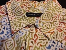 Jhane Barnes Button-Down Shirt L Large Abstract Blue Green Cream Short Sleeve