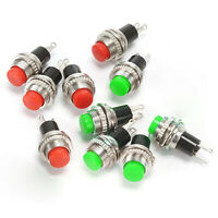 10pcs DS314 Green + Red Round Push Button Momentary Switch on/off dia. 10mm