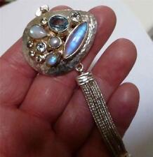 Elegant Rainbow MOONSTONE, Blue Topaz SS .925 STERLING SILVER Designer Bracelet