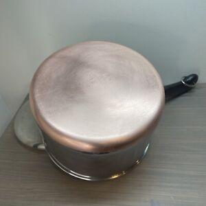 Vtg Revere Ware 1801 3 Quart Saucepan Pot Copper Bottom w/ Lid Clinton IL USA