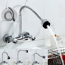 360°Kitchen Basin Wall Mounted Faucet Swivel Spout 2 Handle Sink Spray Mixer Tap