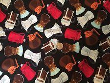 Coffee Pots Caraffe Tea Pot Kitchen Novelty Quilt Fabric Last Fat Quarter FQ FQs