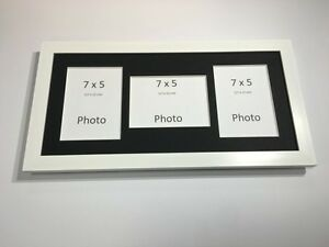 Multi App Photo Frame White-Holds 3 x 7''X5'' Choose from 4 mount colours