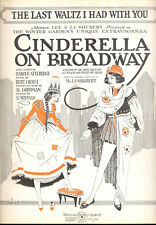 "CINDERELLA ON BROADWAY Broadway Show Sheet Music ""Last Waltz I Had With You"""
