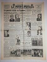 N1079 La Une Du Journal Le petit Parisien 20 juillet 1936 guerre civile Espagne