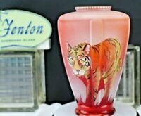 Fenton Glass Hand Painted Sand Carved Tiger Vase 3/7 NFGS J K Spindler 2015