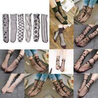 Women Ladies Mesh Sheer Silky Glitter Transparent Short Stockings Ankle Socks