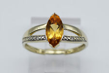 8K Yellow Gold Lovely Lady Ring with Yellow Marquise Shaped Stone and Diamonds