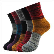 5 Pairs Mens Cotton Socks Lot Colorful Stripes Casual Dress Socks