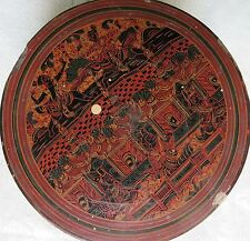 """Antique HAND PAINTED WHIMSICAL SCENE LACQUER BURMESE BOX  BETEL NUT 7""""x 4"""" RARE"""