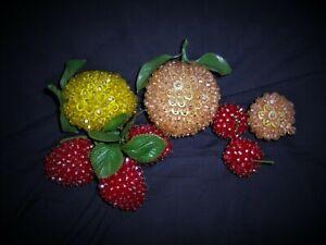 BEADED FRUIT Vintage Pin Beads Peaches Lemon Strawberries Cherries