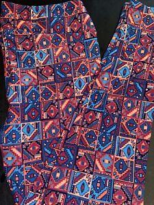 Lularoe TC Leggings Tall and Curvy Aztec NWOT Pinks And Blues