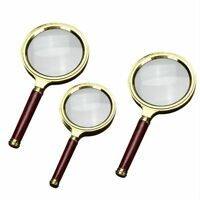 10X Wood Handle Magnifying Glass Portable Handheld Magnifier Jewelry Reading