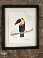 Toucan Signed Original Watercolour Painting, Vintage, Art, Gift