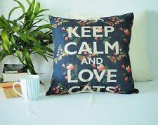 Navy cushion KEEP CALM AND LOVE CATS