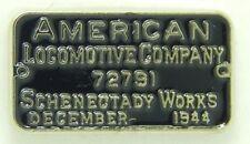 Railroad Hat-Lapel Pin/Tac -American Locomotive Company # plate (ALCO) #1665-NEW