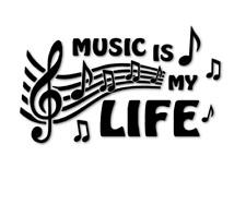 Music is my life Aufkleber Autoaufkleber Schaufenster Musik Life decal 24 #8005