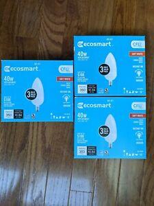 (9)  EcoSmart 60w Dimmable LED Soft White 2700K B11 Bulb Candelabra E12 Frost