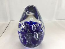SDS SEAPOOT GROUP FOREVER BUBBLES ART GLASS PAPERWEIGHT BLUE