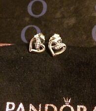 Genuine Silver925 Pandora Ribbon Of Love Stud Earrings