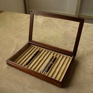 Toyooka Craft Wooden Pen Tray Display Case Made in Japan NEW