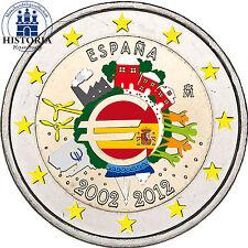 Spanien 2 Euro Gedenkmünze 2012 bfr. 10 Jahre Euro Bargeld in Farbe