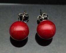 RED PEARL STUD Silver Earring Allergy Free LARGE 12mm Wedding Formal Ladies Gift