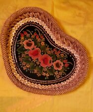 VINTAGE Hand Painted  Heart Straw Woven Tole Flowers Wood Display  Bowl Tray