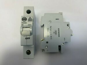 Wylex MCB 6 Amp Single Pole Breaker Type B 6A White Dolly NSB06-B Stotz