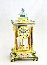 Vintage Ansonia Style Visible Escapement 24K Floral Porcelain Regulator Clock