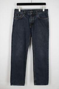 Hugo Boss Black Label Maine Homme W34/L32 Droit Coupe Foncé Jeans Bleu 36355-GS