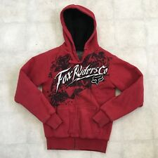 Fox Riders Mens Small Sasquatch Red Black Full Zip Hooded Heavyweight Sweatshirt