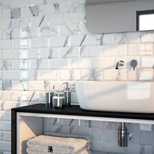 Sample of gloss calacatta metro bevelled edge ceramic wall tiles 10 x 20cm