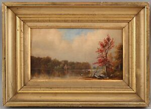 Antique 19thC R. Bensall American Autumn Landscape Oil Painting & Gilt Frame