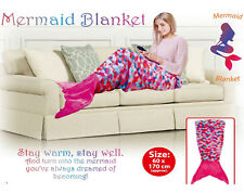 Soft Mermaid Tail Fleece Sofa Beach Blanket Adults Kids Sleeping Bag Ariel