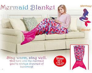 Mermaid Tail Blanket Adult Fleece Sofa Beach Girls Sleeping Bag Ariel Pink Soft