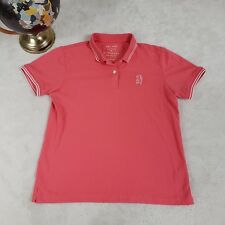Giordano Womens L Polo Top Luxury Golf Rugby Shirt Casual Pink S/S Contrast