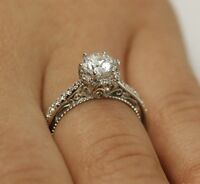 Certified 1.30ct Near White Moissanite Vintage Engagement Ring in 14K White Gold