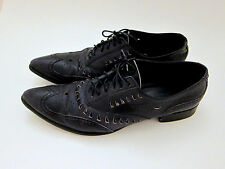 Gianni Barbato Black Cut-out Leather Oxford Women's Shoes Size 6 6.5 36.5