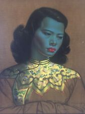 Asian Antique Blue Lady Picture