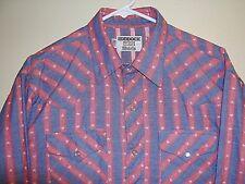 Mens VTG Ruddock Western Cowboy Shirt Red Blue Stars Stripes Pearl Snap sz Large