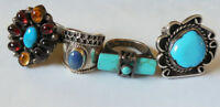Old Pawn Native American Indian STERLING SILVER 4 Ring Turquoise Jewelry LOT