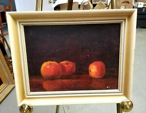 Vintage Mid Century Signed Still Life Oil on Canvas # 2 Original Frame