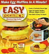 EASY EGGWICH SET OF TWO - MICROWAVE EGG MUFFINS COOKER IN A MINUTE - NEW BOX