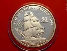 1997 MARSHALL ISLANDS $50 PROOF 1oz SILVER USS CONSTITUTION USA NAVY BATTLE SHIP
