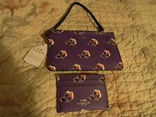 COACH BRAMBLE ROSE PURPLE WRISTLET & CARD CASE NWT TISSUE,BOX,RECPT 57225 56027
