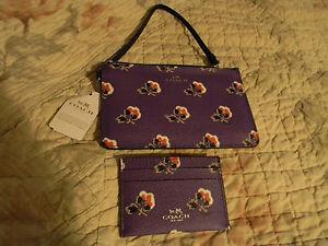 COACH BRAMBLE ROSE PURPLE WRISTLET & CARD CASE NWT TISSUE,BOX, 57225 56027