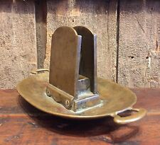 Antique Solid Brass Cigar Cigarette Ashtray With Match Holder Newman & Capron NY